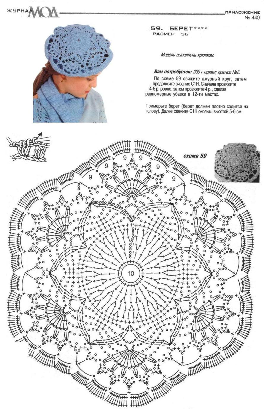 Схема фото берета связанного крючком