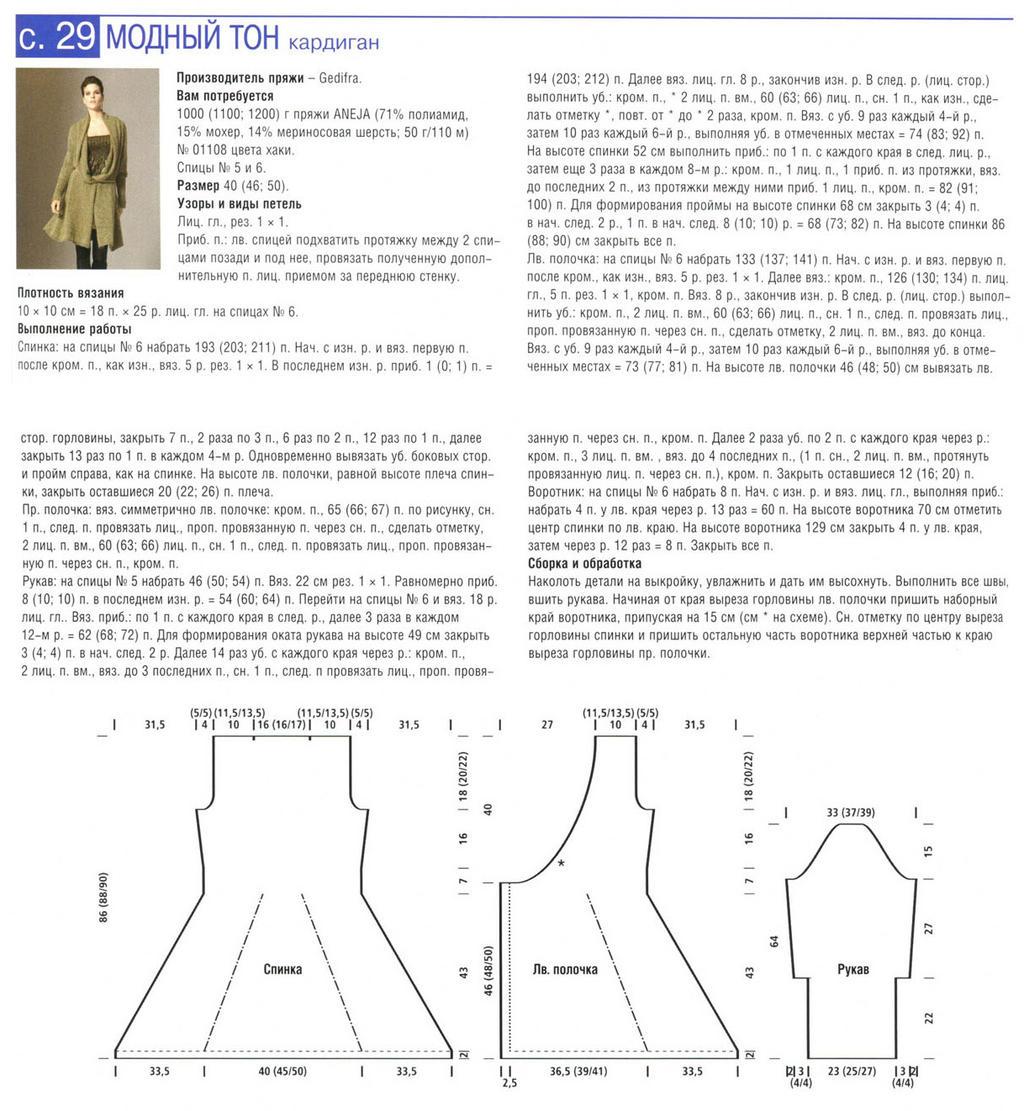 Схема модных кардиганов спицами