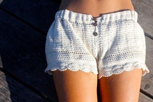 вязаные шорты спицами женские непонятного
