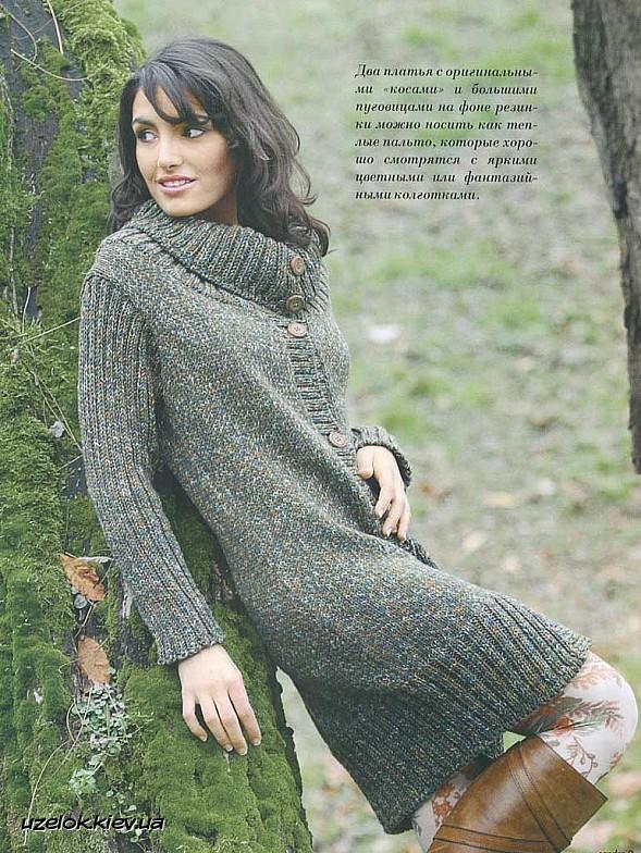 Платье вязаное из толстой пряжи