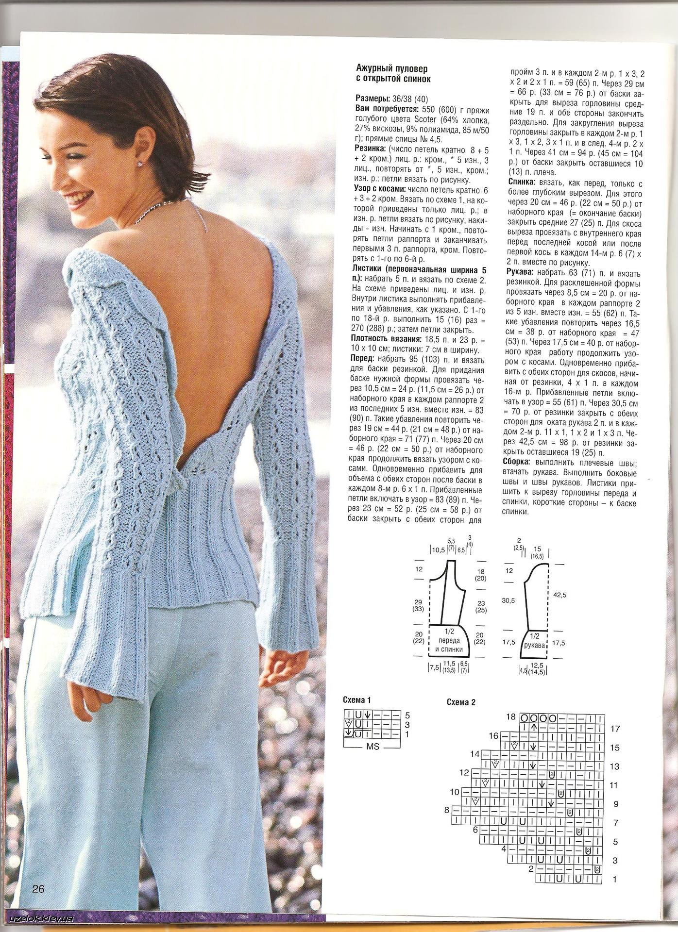 Вязаное платье с открытой спиной спицами схема