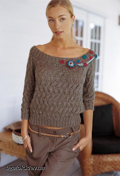 пуловер с открытыми плечами вязание и рукоделие