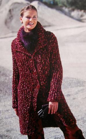 Вязание спицами пальто из меланжевой пряжи 10