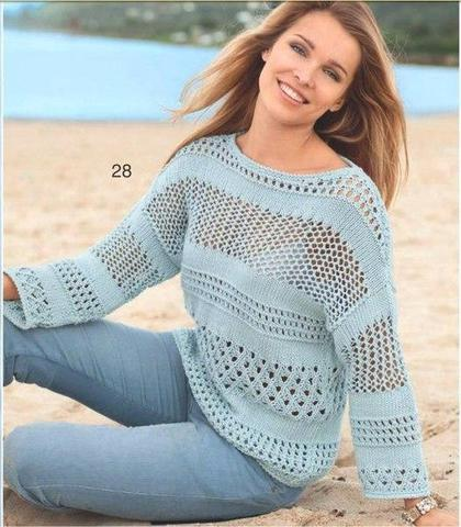 Пуловер из хлопка вязание
