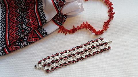 браслет, украшение, фриволите, плетение